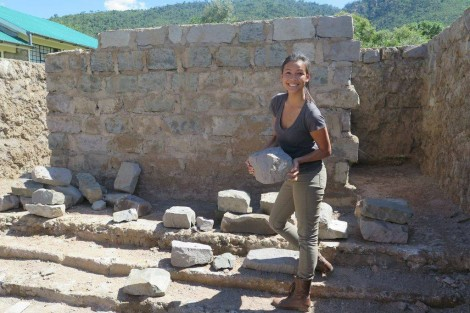 Pamela Sendee, founder of Humans of Change, at a build site of a future school.